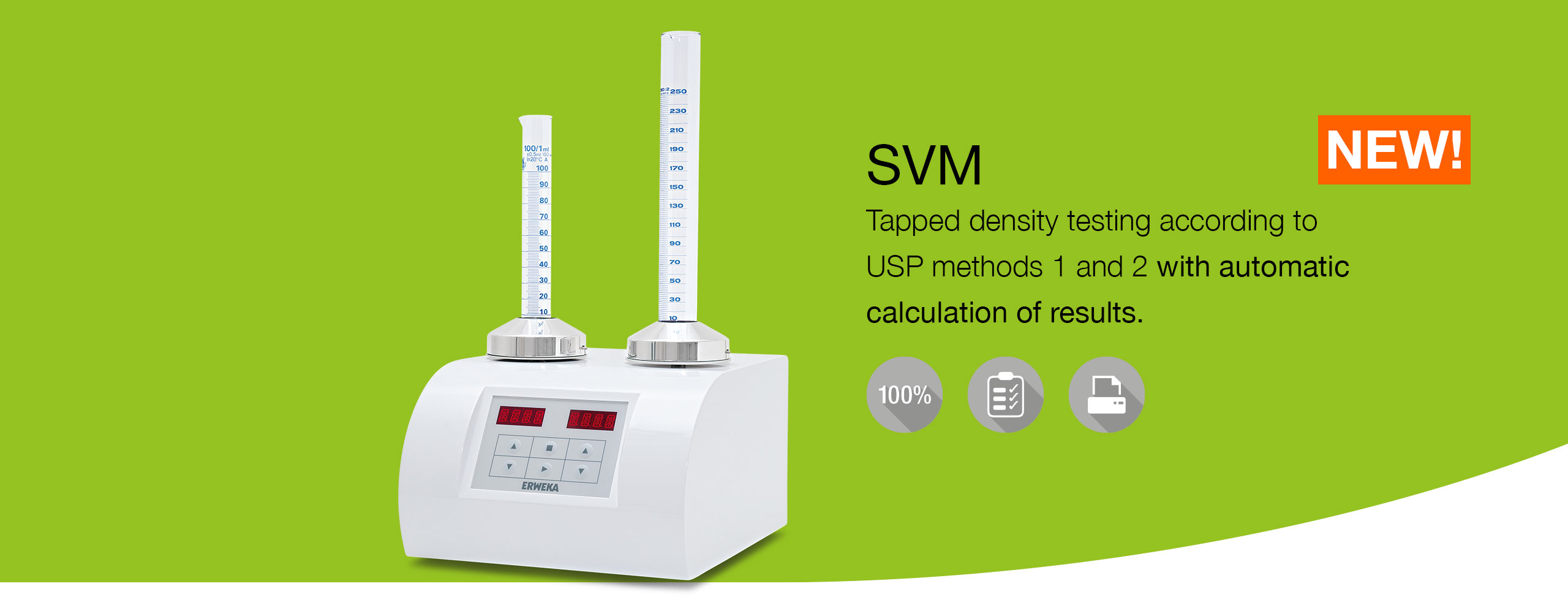 SVM Tapped density tester with automatic calculation of results